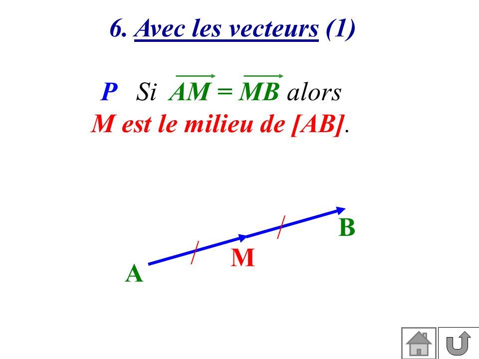 6. Avec les vecteurs (1) P Si AM = MB alors M est le milieu de [AB]. A B M